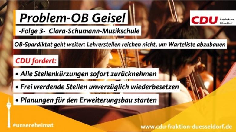 Musikschule: CDU fordert von OB Geisel Ende des Spardiktats